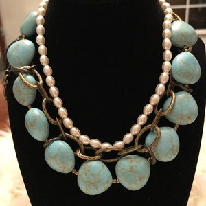Premier Designs Turquoise and Pearl Necklace